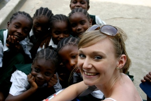Clare Smith, 22yrs, Gapper from Newcastle, with pupils at Don Bosco Technical College. Photo: Victoria Ahmed/CAFOD
