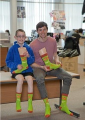 Elliot andCraig at SockShop with winning sock