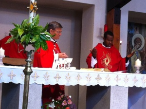 Abba Solomon Concelebrating Mass  with Fr Gilmour in Truro Parish