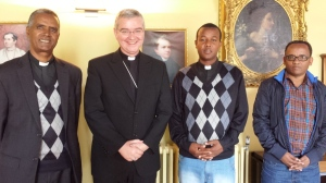 Bishop Mark with Abba Teum, Abba Solomon and Tamiru