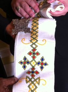 A Stoll made by a disabled children's project supported by ADCS and CAFOD & a delicately engraved traditional silver Ethiopian cross, both of which represent beautifully the spirituality of our work together building the kingdom here on earth.