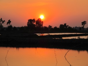 Sunset over Ganges Delta and CAFOD partner,Caritas Bangladesh's project in Mongla District