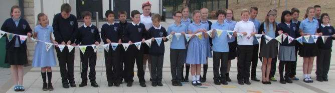 St Mary's Pupils with the Bunting
