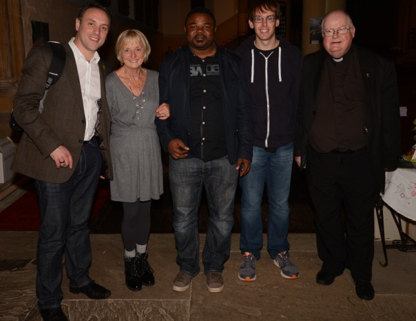 CAFOD Plymouth Manager Simon Giarch (far left) next to CAFOD Volunteer Gillian Mill and CAFOD Niger Representative Michel along (middle) with CAFOD Volunteer James Ronan (right) and Priest Father John Greatbatch
