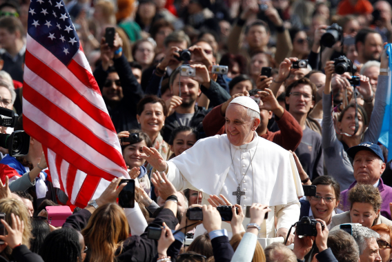 Pope Francis greets Americans during his tour of the US