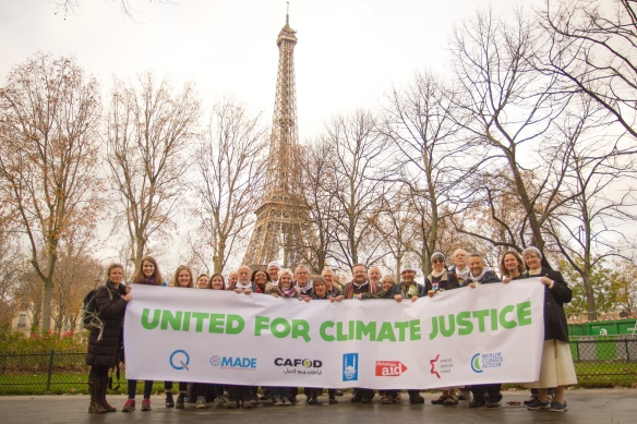 Bernard White & CAFOD camapigners at COP21 Paris