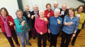 CAFOD supporters from Torbay Deanery with green hearts for the 'Show the love'