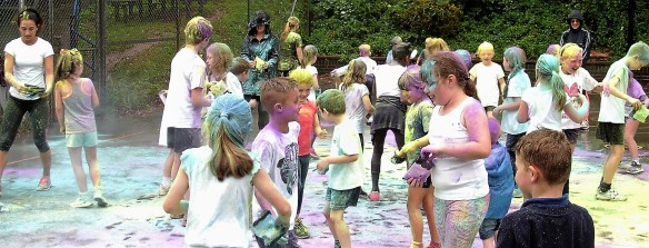 Blast of colour at the end of 1/2 Fun Run - Priory School Torquay.