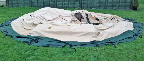 Collapsed tent due to strong winds durring the night.