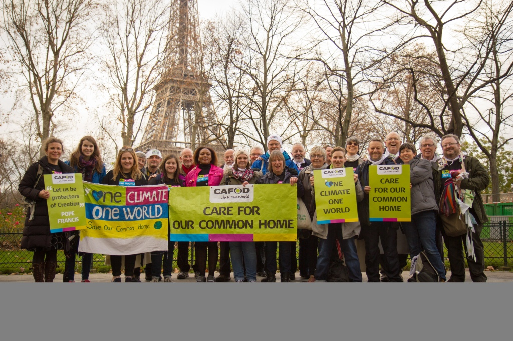 COP Paris 2015 - CAFOD Supporters call for a climate change agreement - Bernard White second right.