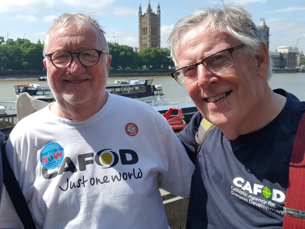 Bernard White with Chris Wightman at the Time is Now Mass lobby of Parliament 2019
